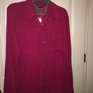 a.n.a hot pink Blouse NWT, size L